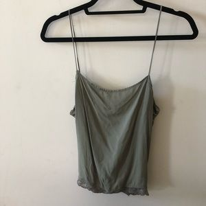 Free People Lace Lined Open Back Cami in Olive